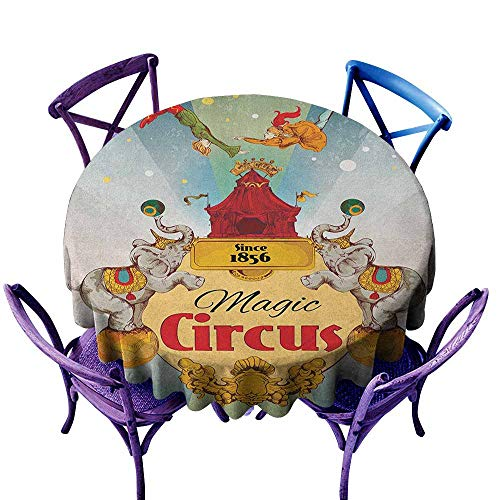 "familytaste Circus,Round Tablecloth D 60"" Magic Circus Tent Show Announcement Vintage Style Aerialist Acrobat Performance Picnic Circle Table Cloth"