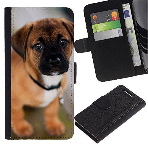 LASTONE PHONE CASE / Lujo Billetera de Cuero Caso del tirón Titular de la tarjeta Flip Carcasa Funda para Sony Xperia Z1 Compact D5503 / Puppy Mastiff Bull Cute Dog Pet