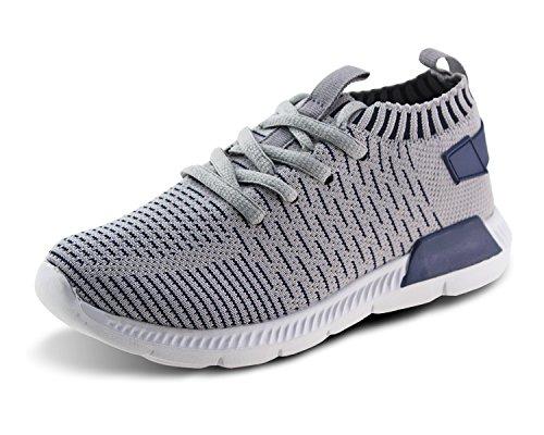Jabasic Kids Running Shoes Boys Girls Lightweight Breathable Easy Walk Slip On Knit Sneakers(5,Grey)