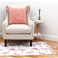 Thro by Marlo Lorenz TH013201001E Francine Flamingo Printed Fringe Rug, Pink Multicolor