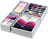 4 Set - SimpleHouseware Closet Underwear Organizer Drawer Divider 4 Set, Gray