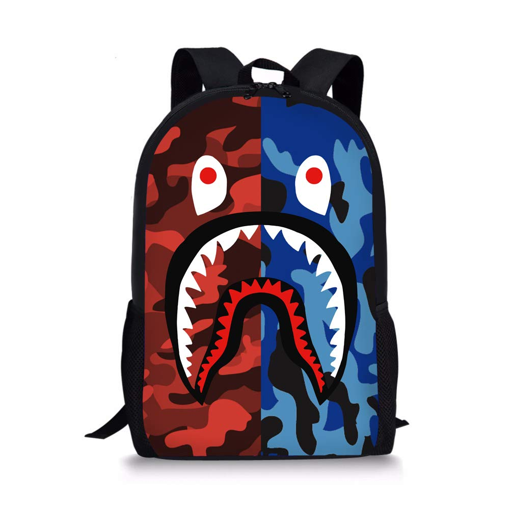 Sunmoonet Bape Shark Pattern Backpack, Lightweight Multi-Function College School Laptop Bookbag 17 Inches