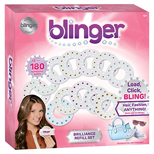 Blinger Brilliance Color Refill Set - Includes 180 Round Gems in a Variety of 12 Colors