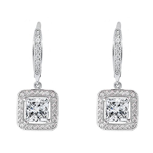Amazon Black Friday Sales 2018 Cate & Chloe Ivy Faithful 18k White Gold Princess Cut Drop Earrings with Cubic Zirconia Crytals, Womens Gold Plated Earrings, Silver Earrings for Women, Wedding Jewelry