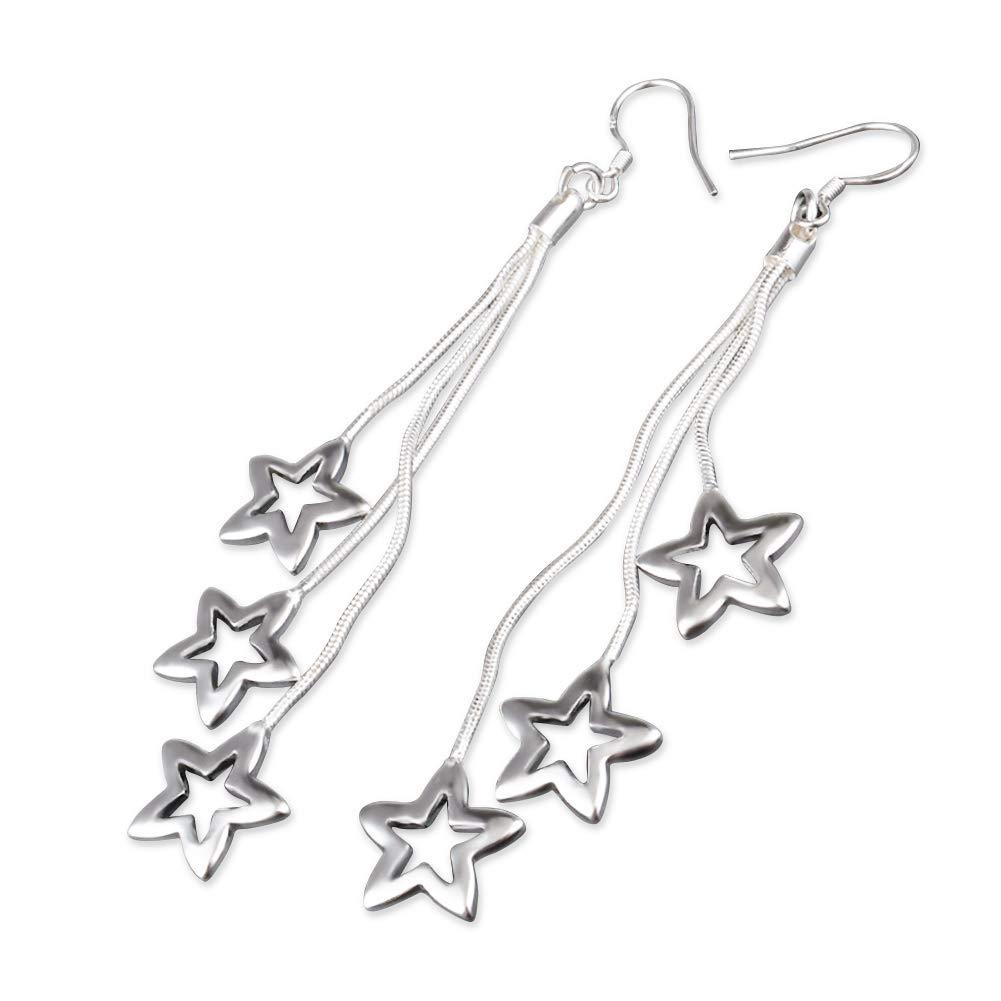 d16aa6260a Amazon.com: GEEZII Star Tassel Bar drop earrings Sterling Silver ...
