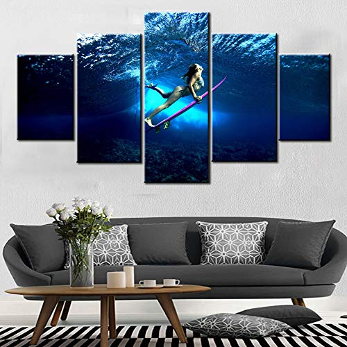 Surfing Girl - Surfings Action Artwork Younger Girl Wearing Bikini Picture for Bedroom Pink Surfboard Artwork 5 Piece Prints Canvas Painting Contemporary Home Decor Framed Gallery-Wraedpp Ready to Hang(60''Wx32''H)