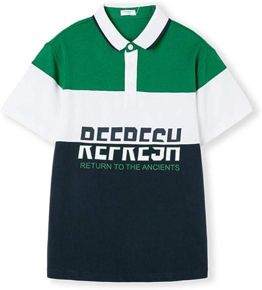 LF Pack De 1 Niño Camisetas,Camiseta De Suéter De Manga Corta Carta Impresa, Estilo Retro Universitario Camisa De Niños,Green-51in(130cm): Amazon.es: Hogar