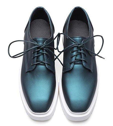 IDIFU Womens Comfy Platform Mid Heels Wedge Lace Up Sneakers Green 4TTEpxEya8