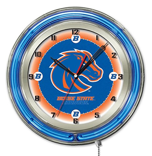 Boise State Broncos HBS Neon Blue College Battery Powered Wall Clock (19