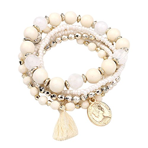Sinfu Multilayer Beads Pearl Bangle Tassels Bracelets Jewelry for Women Girls (Beige)