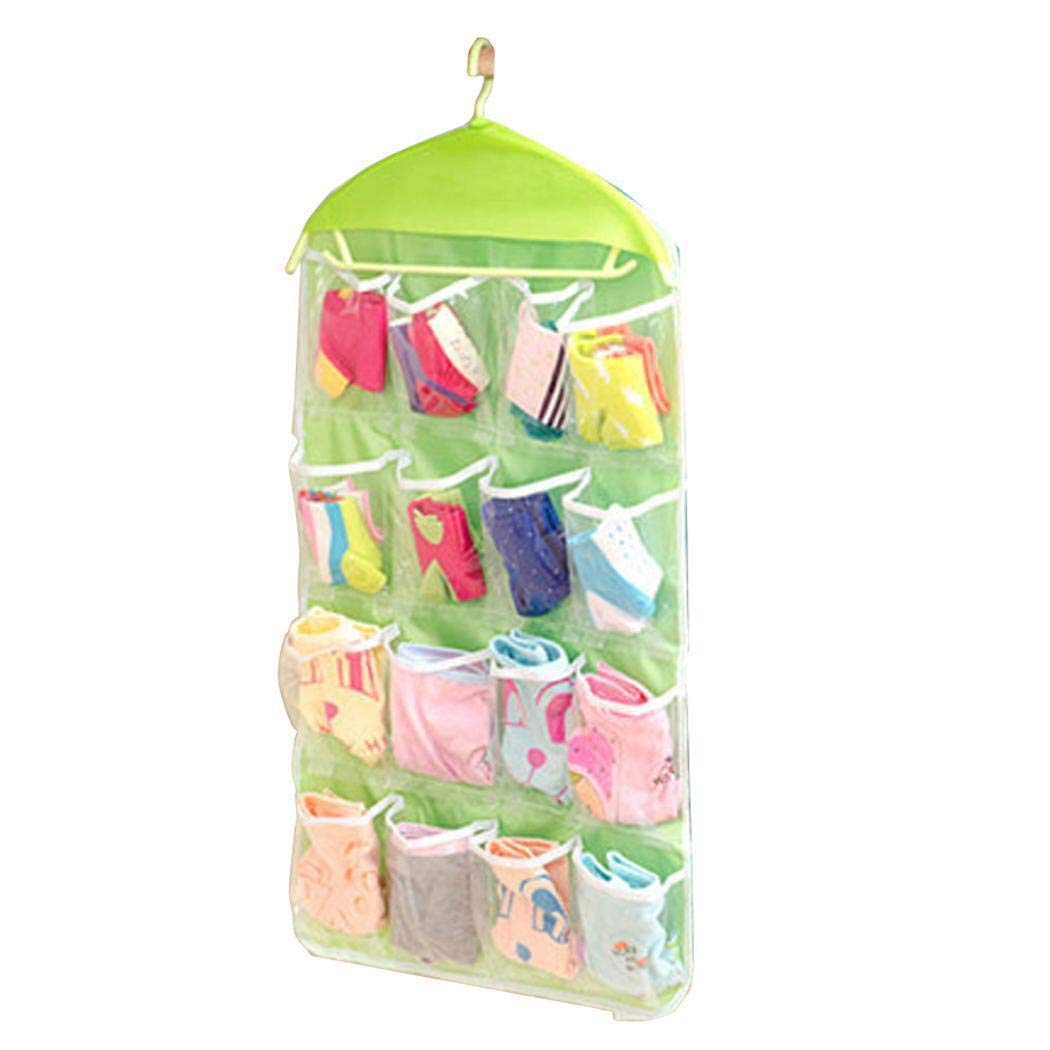 Purcon 16 Grid Clothing Socks Underwear Wall Door Sorting Storage Bag Hanging Shelves