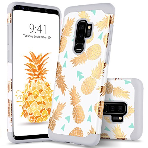 Galaxy S9 Plus Pineapple Case GUAGUA Samsung S9 Plus Case Slim Fit Hybrid Hard PC Soft Silicone Cover Anti-Scratch Shockproof Protective Durable Phone Case for Samsung Galaxy S9 Plus Gold White