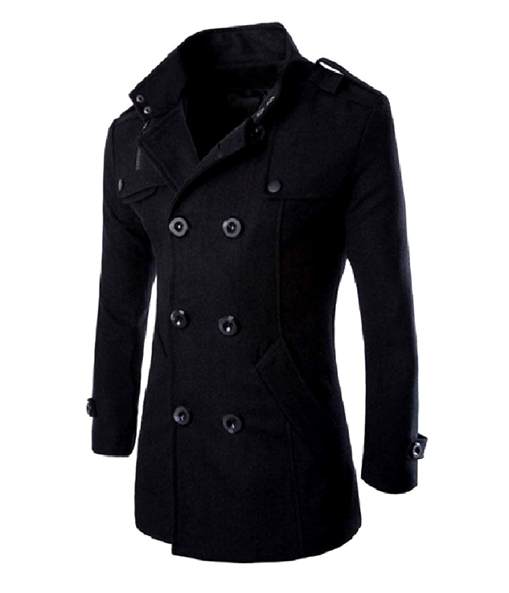 28e1aae69b6 Black FXLM FXLM FXLM Mens Trench Jacket Woolen Fall Winter Double-Breasted  Pea Coat b1d9b3