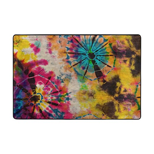 Naanle Rainbow Tie Dye Vintage Area Rug 2'x3', Abstract Polyester Area Rug Mat for Living Dining Dorm Room Bedroom Home Decorative