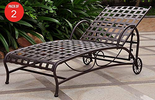 Multi Position Chaise Lounger - International Caravan Iron Bronze Multi-Position Patio Chaise Lounger (Pack of 2)
