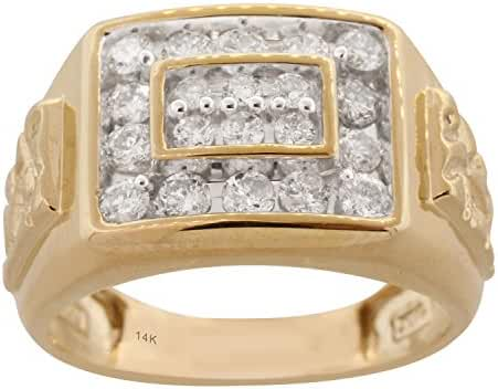 14K Yellow Gold 1cttw Men's Wedding Diamond Ring