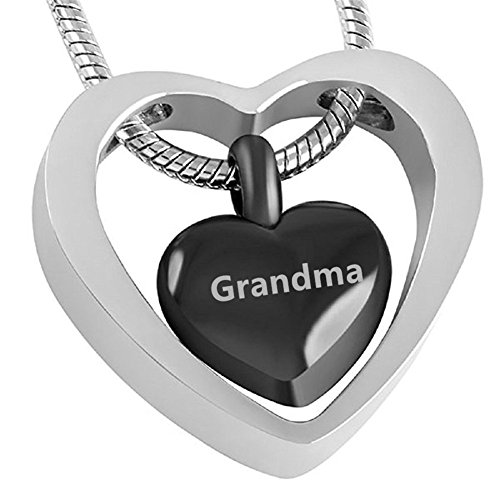 (LiFashion LF Stainless Steel Grandma Carved Double Hearted Ash Keepsake Necklace Cremation Urn Pendant Funnel Fill Kit Sets for Family Ash Memorial)