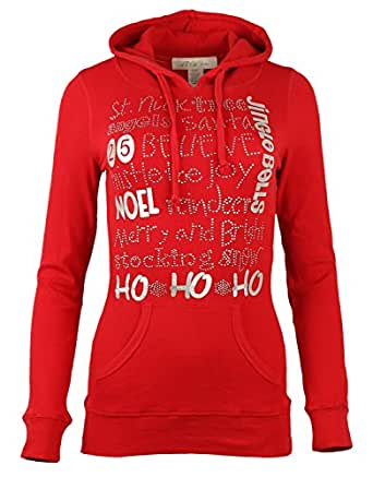 Womens Christmas Spandex Slim fit Hoodie - RED, X-Large