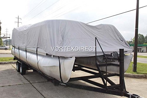 NEW GREY 22 FT VORTEX ULTRA 5 YEAR CANVAS PONTOON/DECK BOAT COVER, ELASTIC, STRAP SYSTEM, FITS 20'1'' FT TO 22' LONG DECK AREA, UP TO 102'' BEAM (FAST - 1 TO 4 BUSINESS DAY DELIVERY) by Vortex