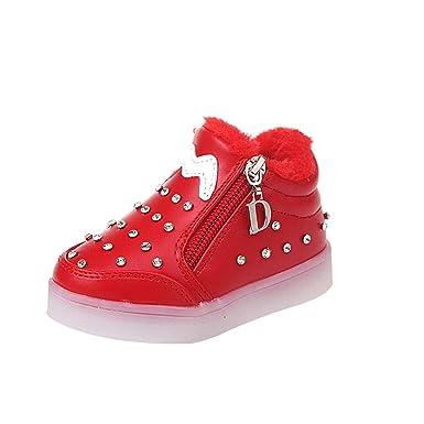 YanHoo Zapatos para niños Luces de Diamantes de imitación para niños Luminoso LED Inferior Suave Cremallera Doble Zapatos de Las niñas Luces Zapatos ...