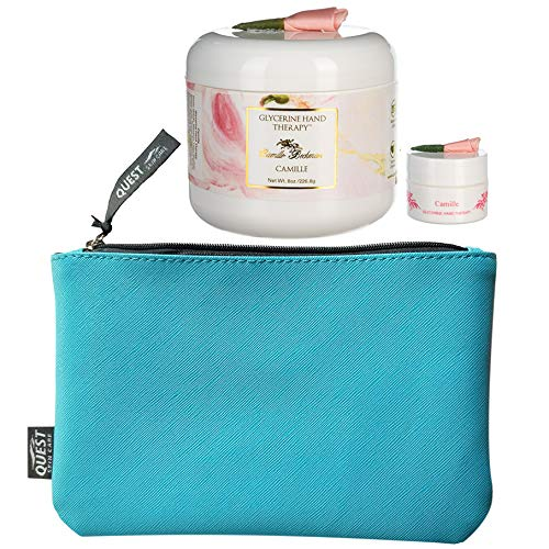 Camille Beckman Glycerine Hand Therapy, Camille 8 Ounce With Refillable Purse Size Hand Cream (.25 oz) & FREE Quest Skin…