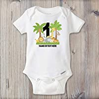 PERSONALIZED Baby Name First Birthday One Piece Bodysuit, First Birthday Outfit, Jungle Safari Birthday, The Big One, Wild One