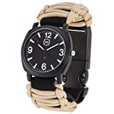SharpSurvival Paracord Camping Watch with Fire Starter, Whistle and Compass – Tan
