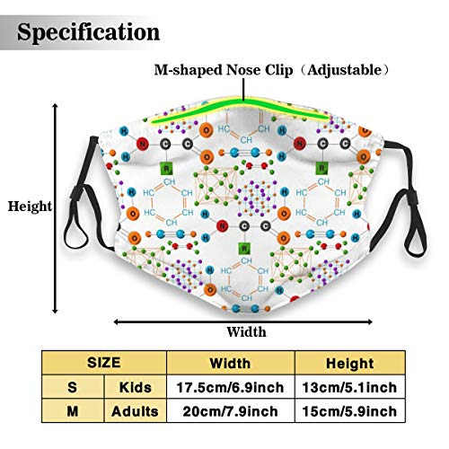 Molecular Structure Medical Evolution Life Funny Printed Mouth Mask For Adult Kids, Various Use Adjustable Half Face Mask With Two Activated Carbon Filters