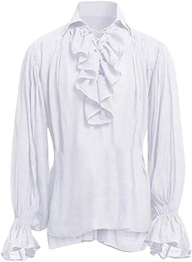Camisa Retro de Estilo étnico de Manga Larga para Hombre Camisa de Manga Larga de Vendaje para Hombres Blusa de Hombre gótico: Amazon.es: Ropa y accesorios