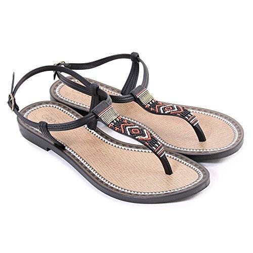 Grendha Women's Sandal Plastic Black Buckle Tribal Acai Black RRqpwrFT