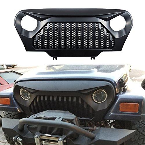 Bentolin Matte Black Front Grille Cover Vader Grill w/Mesh Inserts for 1997-2006 Jeep Wrangler TJ LJ