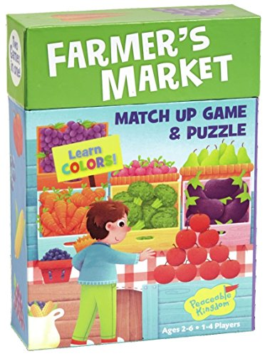 Peaceable Kingdom Farmer's Market 24 Card Color Match Up Memory Game and Floor Puzzle for Kids (Fruit And Vegetable Cards)