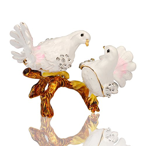 YUFENG Pigeon Trinket Box Metal Enameled Brid Figurine Collectable Wedding Jewelry Ring Holder Organizer by YUFENG