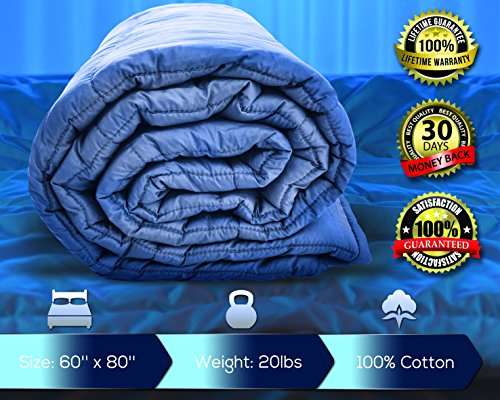 Weighted Blanket 20 lbs 60x80 inches Queen Size - Premium Gravity Heavy Blanket - Great Sleep Therapy for People with Anxiety - Autism - ADHD - Insomnia or Stress - Cotton - Glass Beads by Zotlex (Image #2)