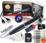 Gadgets 1080p HD Hidden Camera Pen Bundle 16GB SD Micro Card + USB Card Reader + 7 Ink Fills + Updated Battery + USB Plug! - Record Executive Multifunction DVR Easy to Use