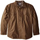 Carhartt Men's Big & Tall Weathered Canvas Shirt Jacket Snap Front,Frontier Brown,XXX-Large