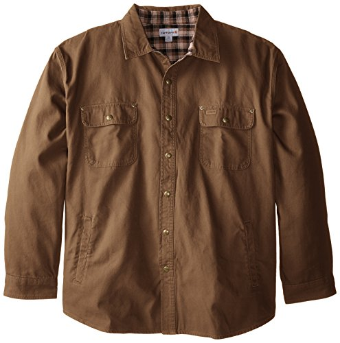 Carhartt Men's Big & Tall Weathered Canvas Shirt Jacket Snap Front,Frontier Brown,XXX-Large by Carhartt