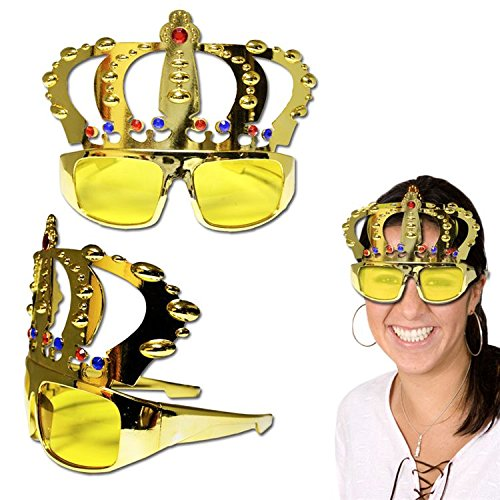 Gold Jeweled Crown Sunglasses Party Favor