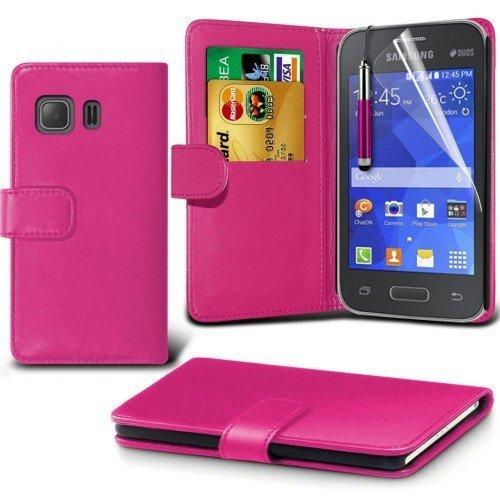 Samsung Galaxy Young 2 Cubierta del caso con cuero (Rosa caliente) Plus de regalo libre, Protector de pantalla y un lápiz óptico, Solicitar ahora mejor caja del teléfono Valorado en Amazon! By FinestP