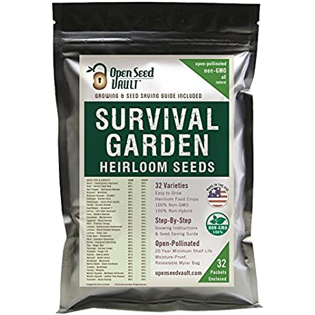 15 000 Non GMO Heirloom Vegetable Seeds Survival Garden 32 Variety Pack By Open Seed Vault