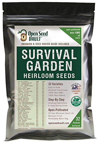 15,000 Non GMO Heirloom Vegetable Seeds Survival Garden 32 Variety Pack by Open Seed Vault ()