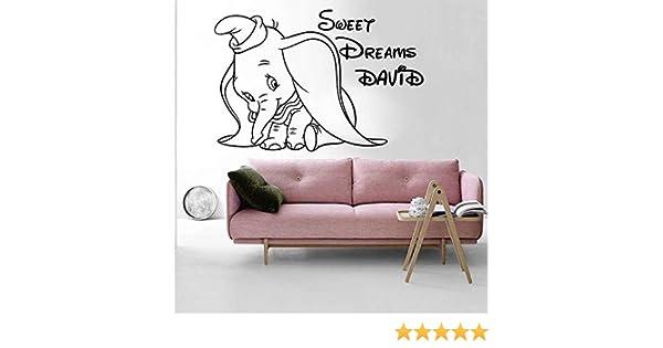 Nombre personalizado Sueño dulce Dumbo Elefante Tatuajes de pared ...