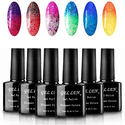 Gellen New Chameleon UV Gel Nail Polish Assorted Sparkle Color Type - Pack of 6 colors