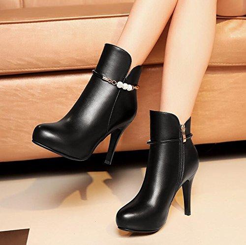 HGTYU-Zapatos y botas de invierno de otoño de nuevo el fino y ultra alto con perforación de agua hebilla y cremallera lateral corto corto Martin botas botas zapatos de mujer zapatos de mujer Negro 36 36