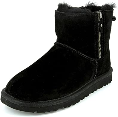 UGG Womens Classic Mini Double Zip 1009861 Black Boots and