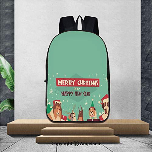 Printed Large Capacity School Backpack,Dogs In Santa Hats On Merry Christmas And Happy New Year Greeting Card Holiday Poster Design,16.5