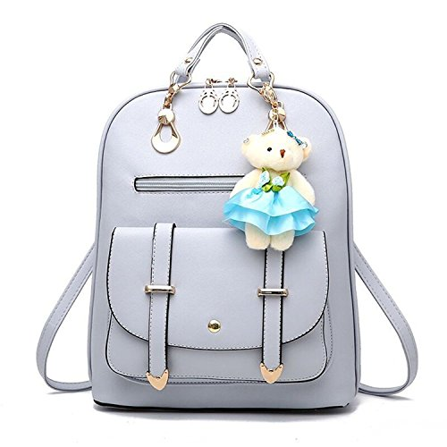 Women Backpack PU Casual Girls Lovely Gray School Travel Backpack Leather Vintage 47rxZ64