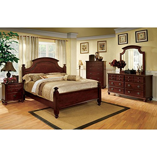 24/7 Shop at Home 247SHOPATHOME IDF-7083Q-6PC Bedroom-Furniture-Sets, Queen, Cherry ()