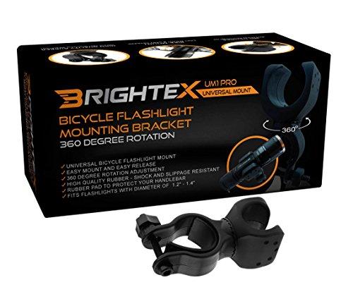 Brightex UM1 Pro Universal Bicycle Flashlight Mount Bracket, 360 Degree Rotation