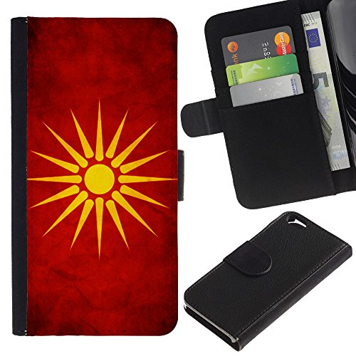 EuroCase - Apple Iphone 6 4.7 - Macedonia Grunge Flag - Cuir PU Coverture Shell Armure Coque Coq Cas Etui Housse Case Cover